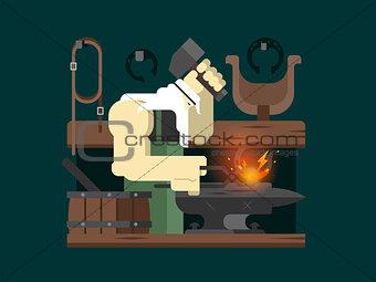 Blacksmith character cartoon