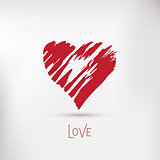 Handdrawn painted heart, vector element for your design. Heart icon