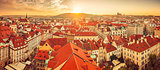 Panorama of red roofs skyline in Prague city