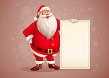 Merry Santa Claus standing with christmas greetings banner in arm