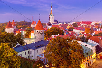 Aerial view old town in the twilight, Tallinn, Estonia