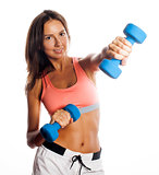 young pretty slim woman with dumbbell isolated