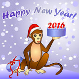 2016 New Year card with monkey