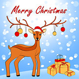 Merry Christmas card with deer