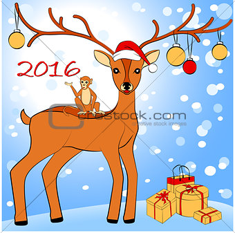 2016 New Year card with monkey and deer