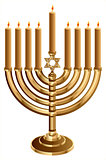 Hanukkah candleholder with 9 candles. Candlestick for 9 candles