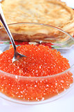 red caviar in a plate with the spoon