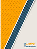 Abstract orange plate brochure with blue tire stripe