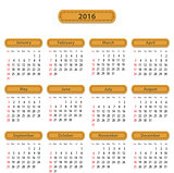 2016 English calendar
