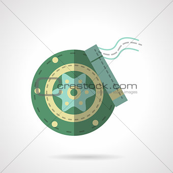Green disc brakes flat vector icon
