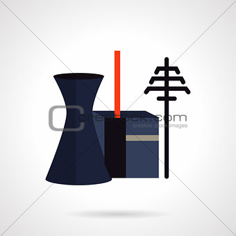Power plant and towers flat vector icon