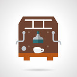 Brown coffee maker flat vector icon.
