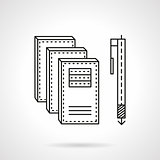 Notebooks and pen flat line vector icon.
