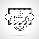 Cat with frame flat line vector icon