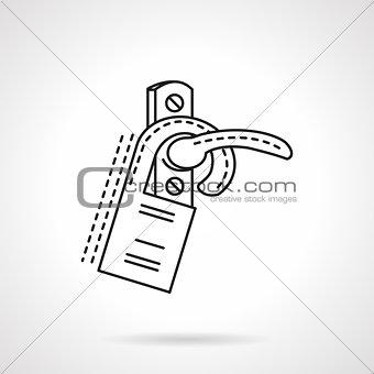 Flat line door label vector icon.