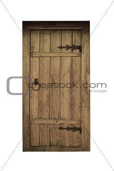 Old vintage wooden door on white background