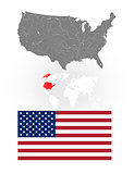 Map of the United States of America and American flag.