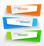 Set of colorful paper origami banners