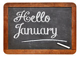 Hello January sign on blackboard