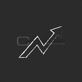 Arrow upward icon drawn in chalk.