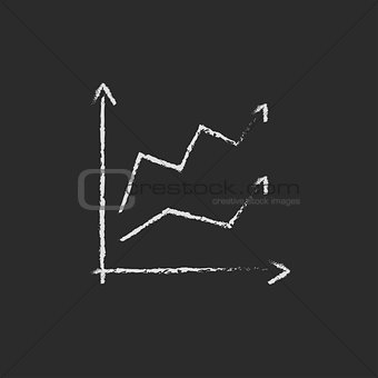 Growth graph icon drawn in chalk.