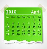Calendar april 2016 colorful torn paper