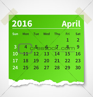 Calendar april 2016 colorful torn paper