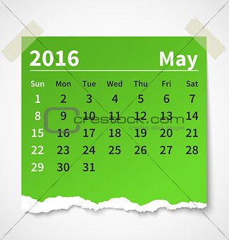 Calendar may 2016 colorful torn paper