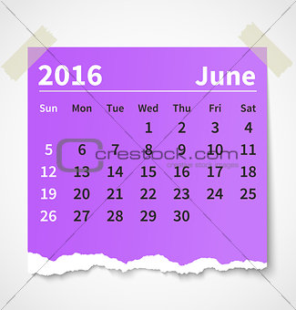 Calendar june 2016 colorful torn paper