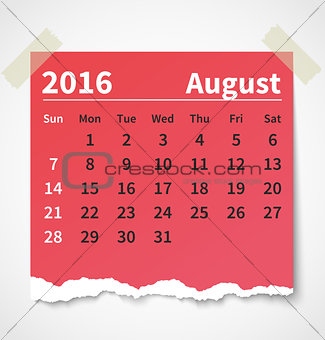 Calendar august 2016 colorful torn paper
