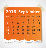 Calendar september 2016 colorful torn paper