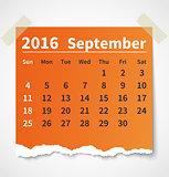 Calendar september 2016 colorful torn paper