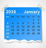 Calendar january 2016 colorful torn paper