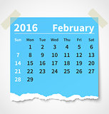 Calendar february 2016 colorful torn paper