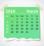 Calendar march 2016 colorful torn paper