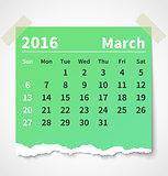 Calendar march 2016 colorful torn paper