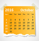 Calendar october 2016 colorful torn paper
