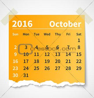 Calendar october 2016 colorful torn paper