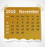 Calendar november 2016 colorful torn paper