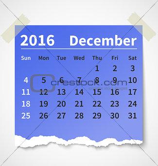 Calendar december 2016 colorful torn paper