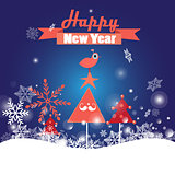 Greeting Christmas card with trees and bird