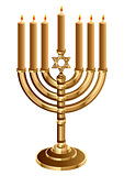Hanukkah candleholder with 7 candles. Candlestick for 7 candles. Minor