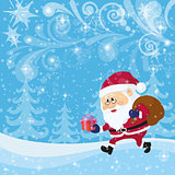 Santa Claus in Christmas Forest