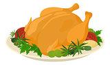 Meal on dish, roasted turkey