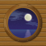 Night sea in a ship window