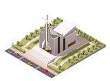 Vector isometric modern church