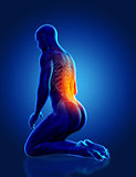 3D blue male medical figure kneeling with spine highlighted