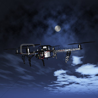 3D drone flying in a night sky