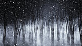3D foggy forest on a snowy night