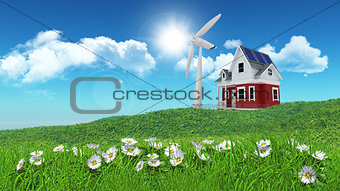 3D render of daisies in grass with house and wind turbine n dist